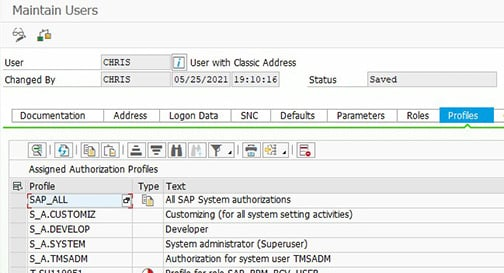 Examples of pre-delivered SAP profiles